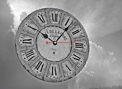 Clock In The Clouds (☼☼I'm So Ready For Spring!☼☼) Tags: odc blackandwhitewithabitofcolour sky clouds clock black white grey red sweephand romannumerals