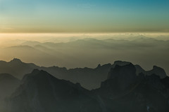 Layers - View from Säntis Peak, Switzerland (Rita Eberle-Wessner) Tags: switzerland landschaft landscape schweiz appenzell alpstein säntis säntisgipfel sonnenaufgang sunrise berge mountains alpen alps magiclight berg himmel morgendämmerung dawn säntispeak