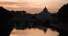 Saint Peter's Basilica and Light Reflections (Lonni.besançon) Tags: rome light lights outdoors outside outdoor out river bridge europe water warm night nightlight nighttime nikon photography exposure sky skyporn skyline church travel colours colors colourful colour color clouds couleurs couleur coucher couché trip religion vatican city