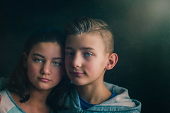 Almost 12 (Rebecca812) Tags: boy girl children portrait fineart painterly twins people siblings togetherness love bonding texture brushstrokes toolmark canon rebecca812 formal studio painting photoshop