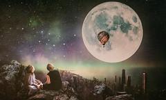 Big moon (Ro Cafe) Tags: photomanipulation photoshop conceptual storytell fantasy moon night children sky stars city