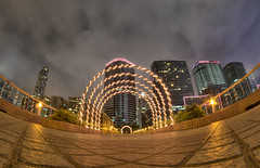 sometimes i have a strange view of the world (Wizard CG) Tags: royal pacific hotel tsim sha tsui kowloon hong kong stacked architecture abstract looking up lookup wide angle epl7 sky glass reflection symmetry olympus hdr nightshots fisheye samyang skyscraper building tree city road skyline
