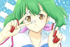 ranka-ranka-lee-E3-83-A9-E3-83-B3-E3-82-AB-E3-83-BB-E3-83-AA-E3-83-BC-28026204-650-435 (jawavs) Tags: macross popidol moe anime bluebackground goldeyes pinkribbon young ranka lee cute greenhair longnails smile rednails fakenails falsenails shine peace pose brighteyes