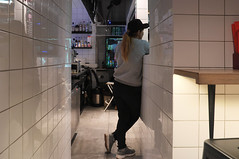 DSCF4613 (Mike Pechyonkin) Tags: 2019 moscow москва cafe кафе crazy noodle girl woman девушка table стол bottle бутылка fridge холодильник safe сейф