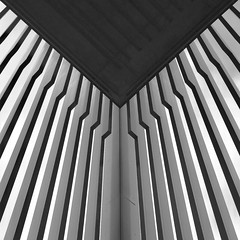 Simple Abstract 39 (No Great Hurry) Tags: x100f square geometry lines lookingup london landoltbrown mono bnw minimum minimal hackneywidk robinmauricebarr modernist architectural constructuralart nogreathurry