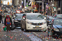 New Year's Day, Times Square (Travels with Kathleen) Tags: newyork timessquare newyearsday confetti urban urbanpoetry city cars streetphotography