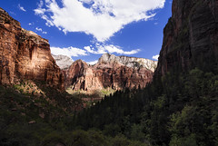 Red Arch Mountain, Zion National Park, Utah, United States Of America (weesam2010) Tags: zionnationalpark utah unitedstatesofamerica mountain sunshine red arch redarch shadows shadow light contrast valley canyon sandstone national park daylight sky clouds white blue green