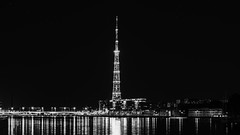 TV tower at night  (St. Petersburg, Russia) #122, 08-2018, (Vlad Meytin, vladsm.com) (Instagram: vlad.meytin) Tags: khimporiumco meytin neva nevariver russia russiancity stpetersburg tvtower vladmeytin blackandwhite city cityriver european night nightcity nightpark nightphotography outdoor photography reflections stars vladsm vladsmcom waterreflections петербург россия санктпетербург ru