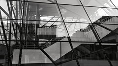 Glass labyrinth (vincentag) Tags: bruxelles belgium architecture monochrome black white building