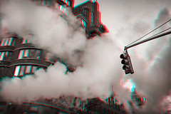 New York, New York (DDDavid Hazan) Tags: newyork ny nyc winter steam intersection zebracrossing crossing bwanaglyph bw street urban redcyan stereophotography 3d 3dstereophotography
