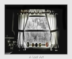 A Lost Art? (Christina's World!) Tags: bw topaz selectivecolor window creative california curtains home house architecture vintage antique kitchen interior monochrome blackandwhite border