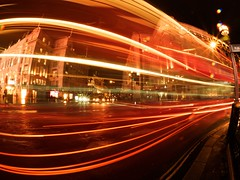 Light trails Piccadilly (#Dave Roberts#) Tags: omdon uk night dark piccadilly light trails streaks traffic red march 201 evening photo meetup olympus omd em1 long exposure england regent street bus fish eye fisheye