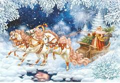 Postcrossing RU-7003044 (booboo_babies) Tags: art horse horses christmas holiday santaclaus winter russia postcrossing white blue