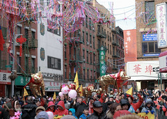 Chinese New Year 2019 NYC (tai_lee2) Tags: parade festival celebration chinese lunar year pig new york city road street sign barrier flag people person fireworks toys streamers decorations