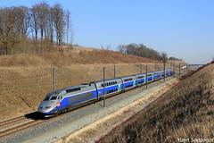 A toute vitesse (Lion de Belfort) Tags: train chemin de fer lgv rhinrhône branche est tgv duplex réseau réseauduplex rd atlantique 600 611 châtenoislesforges châtenois les forges