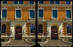 Goetheschule in Reichenbach 3-D / Kreuzblick / Stereoskopie (Stereotron) Tags: saxony sachsen vogtland reichenbach goetheschule gymnasium fassade deutschland germany europe cross eye view xview crosseye pair free sidebyside sbs kreuzblick bildpaar 3d photo image stereo spatial stereophoto stereophotography stereoscopic stereoscopy stereotron threedimensional stereoview stereophotomaker photography picture raumbild hyperstereo twin canon eos 550d remote control synchron kitlens 1855mm tonemapping hdr hdri raw 100v10f