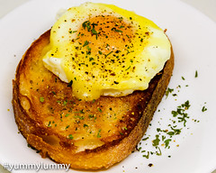 Public holiday Monday breakfast, fried egg and Coon cheese on fried sourdough bread (garydlum) Tags: cheese cooncheese egg eggs friedbread friedegg sourdoughbread canberra australiancapitalterritory australia au