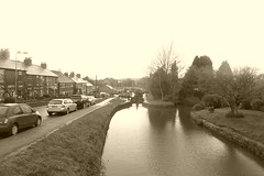 View from top lock, Marple   (Peak Forest Canal)   April 2019 (dave_attrill) Tags: lock toplock no16 marple peakforest canal towpath peakdistrict nationalpark cheshire cheshirering oldknow april 2019 sepia