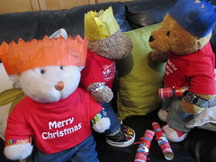 The great Christmas cracker face-off (pefkosmad) Tags: tedricstudmuffin nobbynomates gingernutt ted nobby ginger teddy bear animal toy cute cuddly fluffy plush soft stuffed christmas festival winter winterval play december paperhats crackers boxingday