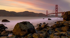 Took a long exposure for the G.G.B. (milton sun) Tags: longexposure marshall'sbeach sanfrancisco goldengatebridge bridge sfskyline dusk seascape bay ngc bayarea wave ocean shore seaside coast california westcoast pacificocean landscape outdoor clouds sky water rock mountain rollinghills sea sand beach cliff evening sunset goldensunset