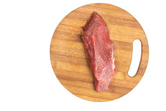 Flat lay above beef meat on the wooden board (wuestenigel) Tags: lean butcher muscle cut cattle slice background meat red bloody uncooked cook bbq grocery beefsteak kitchenboard meal white raw steak woodenboard closeup tenderloin veal butchery cow isolated food loin nutrition barbecue ingredient grill product fresh chop fillet dinner beef protein sirloin nobody