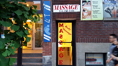 Massage Parlors in Montreal, Canada (Walker Larry) Tags: massage parlor spa parlour massaging masseuse therapy therapist montreal quebec canada chinatown asian amp chinese doolfie dream rub tug erotic rubandtug sign business door window letters letter reversed reverse entrance open dolfie dollfie bodymassage body corps aamp massageici