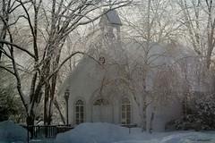 Chapelle au Domaine Maizerets (Marie-Josée Lévesque) Tags: bâtiment chapelle neige snow hiver winter winterwonderland arbres trees verglas ice texture overlay québec canada
