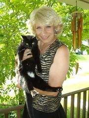 Laurette And Templeton (Laurette Victoria) Tags: cat feline animalprint blonde laurette woman