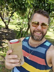 Brown Bag Boy (Toni Kaarttinen) Tags: usa unitedstates florida wpb america lakeworth lw palmbeachcounty man guy beard bear selfie hairy scruff beer brownbag thug