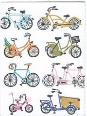 Bikes (Paicil) Tags: postcard postcrossing bicycle bike illustration switzerland sannyvanlooh