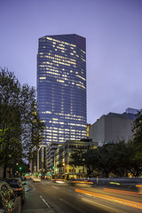 609 Main at Texas - Light Trails Down Fannin 1 (Mabry Campbell) Tags: 5 609mainattexas harriscounty hines houston pickardchilton texas usa architecture building cartrails downtown dusk image lighttrails motion movement photo photograph f71 mabrycampbell march 2019 march72019 20190307houstoncampbellh6a4341 24mm 13sec 100 tse24mmf35lii