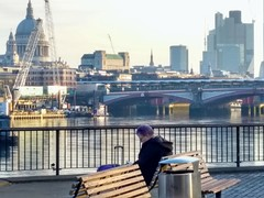 Reading by The Thames (laurapage839) Tags: riverthames london lady sitting bench reading skyline southbank bridge