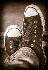 Converse Classic high tops. (CWhatPhotos) Tags: cwhatphotos converse high top tops boots chucks all stars star black sepia camera photographs photograph pics pictures pic picture image images foto fotos photography artistic that have which contain panasonic 20mm lumix prime lens olympus omd em10 mk ll flickr