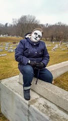 Cracks, Waiting on the snow to arrive (PhotoJester40) Tags: outdoors outside female cemetery mask cracks amdphotographer posing lakeforestcemetery