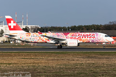 HB-JCA Swiss  Airbus A220-300 painted in 'Fête des Vignerons 2019 - Fichtre' special colours  (FRA - EDDF - Frankfurt) (Sierra Aviation Photography) Tags: blau fraport frankfurtairport germany frankfurt fra eddf boeing embraer airbus bombardier planespotting planespotter spotter avionik spotting aviation luftfahrt airline airlines airways airport runway landing departure arrival jet sierraaviationphotography canon 5d eos engine taxiway terminal apron flugzeug aeroporto avião luchthaven vliegtuig luchtvaart airliner jetliner civilaviation aircraft airplane aeroplano sierraaviation 飛機 飞机 الطائرات 航空機 空港 مطار 机场 航空公司 الطيران エアライン 항공회사