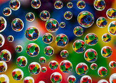 Pickselated (Idlefrog Photo) Tags: guitarpicks colorful colours macro redadmiral abstract refraction green blue yellow waterdrops spheres