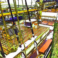 boat deck (j.p.yef) Tags: peterfey jpyef yef sailship sailboat denmark dänemark harbor photomanipulation square hvidesande
