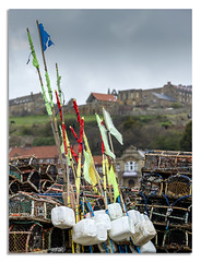 Whitby Harbour. (johnhjic) Tags: johnhjic whitby northyorkshire north yorkshire fish fishing flag pot pots lobster sky abby hose hoses grass green colour color floats crab rope seaside coast abbey