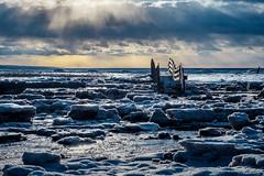the bay bridge (Port View) Tags: fujixe3 scotsbay novascotia ns canada cans2s 2019 winter bridge beach ice icy tide tidal sky clouds sun sunlight shadow color colour backlight backlit