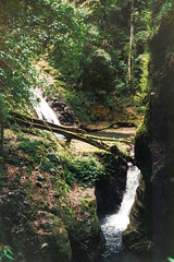 Fountain Falls, 1993 (NettyA) Tags: 1993 australia canungracreekeast fountainfalls lamingtonnationalpark middleridgetraverse qld queensland bushwalk bushwalking scannedprint scenicrim
