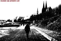 """Zu Fuß nach Köln gehen"" (Cologne Cam Authentic Art) Tags: art kunst urban city street streetshot streetphoto streetphotography people blackandwhite blackwhite bw schwarzweiss monochrome light contrast bwphotography abstract köln cologne keulen germany deutschland dom cathedral rhein rhine"