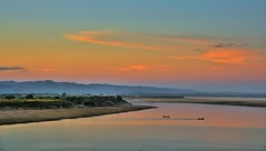 Irrawaddy River at sunset (ValterB) Tags: valterb view nikond90 nikkor nature shadow sky scenic sunset sunlight surreal colour colors color shore river boat boats orange yellow red bagan burma myanmar beach sand landscape water