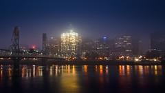 Foggy Waterfront at Blue Hour 2995 A (jim.choate59) Tags: jchoate on1pic portlandoregon willametteriver bluehour dusk night skyline water reflection bridge pdx