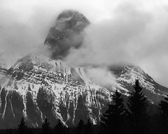 Shadowing Spring in the Rockies (Mr. Happy Face - Peace :)) Tags: mountains albertabound canada snowcaps sky clouds cans2s weather black white bw art2019