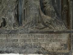 1414 - 'Pierre de Herselle (+1414) & Jehanne de Vionne (+1442)', former cemetery Saint-Nicaise, Arras, Musée des Beaux-Arts, Arras, dép. Pas-de-Calais, France (roelipilami (Roel Renmans)) Tags: 1414 1442 pierre de herselle jeanne jehanne vionne adrien arras cemetery saint nicaise musee beaux arts des france pas calais wall mounted memorial church monument funéraire grabmal tournai stone armor armour armure harnas rüstung fauld lames spaulder spaudler besagew sword hilt grip gauntlet couter wing pommel gothic 15th century sculpture funerary cimetiere museum calvaire calvary crucifixion john baptist peter jean baptiste st greave helmet helm bascinet buckle grand