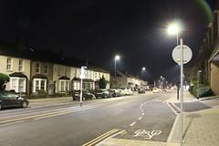 Night Shoot ,56 (doojohn701) Tags: houses architecture cars road sky buildings streetlighting dusk dark vegetation glare tarmac bexleyheath uk