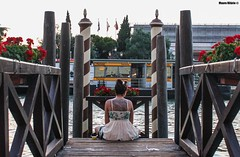Dragon tattoo damsel (Mauro Hilário) Tags: girl woman tattoo venice italy beautiful beauty romantic pier river lovely flowers central people