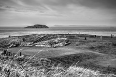 Glen Golf Course (Missy Jussy) Tags: glengolfcourse northberwick golf landscape scotland island rocks coast coastline sea water grass sky mono monochrome blackwhite bw blackandwhite 50mm ef50mmf18ll ef50mm canon50mm fantastic50mm canon canon5dmarkll canon5d canoneos5dmarkii