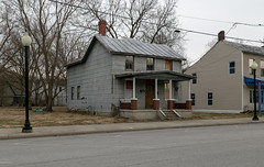 House — Morrow, Ohio (Pythaglio) Tags: house dwelling residence historic frame asbestossiding porch sidewalk street trees morrow ohio warrencounty altered remodeled threebay singlepen chimney metal roof 22windows 11windows