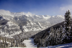 Telly Town (.enKay) Tags: color colour blue sky vacation town telluride travel travelphotography travelling colorado unitedstates america canon canon60d clouds mountains rocks trees ski skiing snowboarding resort evergreen snow sun landscape landscapephotography wideangle